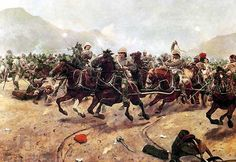 Battery Royal Horse Artillery escaping from the overwhelming Afghan attack at the Battle of Maiwand.