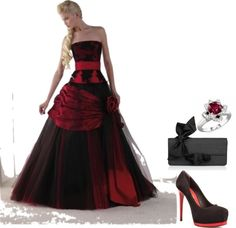 Red and Black Wedding Dress Love it now imagin the dress black n white n the ring white gold with a Black Red Wedding, Colored Wedding Dresses, Bridal Gowns, Wedding Gowns, Evening Dresses, Prom Dresses, Woman Dresses, Beautiful Gowns, Dream Dress