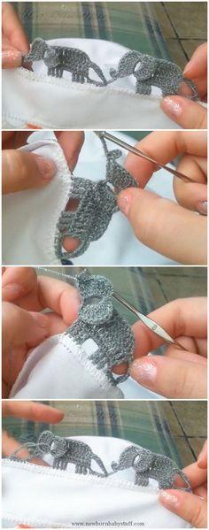 Baby Knitting Patterns Elephant Edging Border...