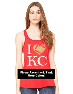 Support your Kansas City Chiefs with this adorable flowy racerback tank in your…