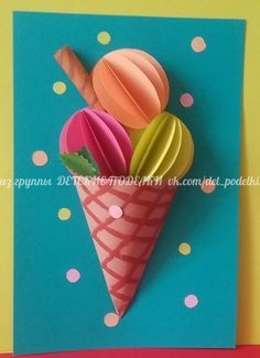 Ice cream summer children's crafts for children pa Summer Crafts For Kids, Paper Crafts For Kids, Craft Activities For Kids, Spring Crafts, Projects For Kids, Fun Crafts, Art For Kids, Diy And Crafts, Arts And Crafts