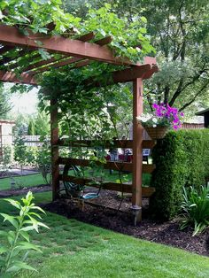 The wooden pergola is a good solution to add beauty to your garden. If you are not ready to spend thousands of dollars for building a cozy pergola then you may devise new strategies of trying out something different so that you can re Backyard Pergola, Pergola Plans, Backyard Landscaping, Landscaping Ideas, Pergola Kits, Backyard Ideas, Pergola Roof, Cheap Pergola, Mulch Ideas