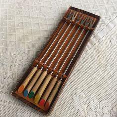 Teak Wood and Stainless Steel Fondue Fork Set / Stainless Steel Fondue Forks with Wooden Handles /  Made in Japan by vintagepoetic on Etsy