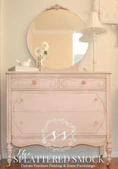 """SOLD: Pink Dresser, Shabby Chic, Hand Painted with Annie Sloan's """"Antoinette"""" Chalk Paint on Etsy, $420.00"""