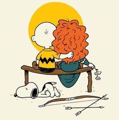 Redhead kisses Charlie Brown image | Charlie Brown and Merida - Peanuts Love Redheads | Peanuts