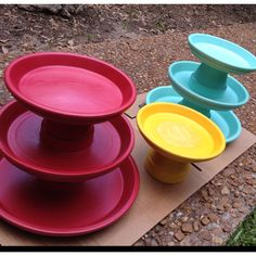DIY cake & cupcake stands... Painted flower pots & saucers! Can also use them as fruit stands, jewelry holders, etc...