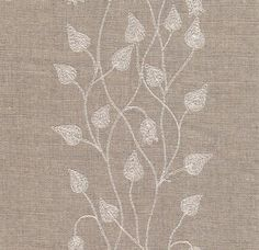 Climbing Leaf Linen Fabric Embroidered leaf design in ivory woven on slightly open weave linen union fabric
