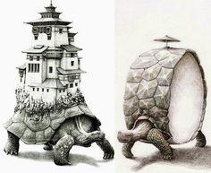 02-Turtles-At-A-Crossroad-Redmer-Hoekstra-Surreal-Animals-Ink-Drawings-www-designstack-co