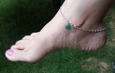 For sale ~ Silver Anklet with Green Onyx