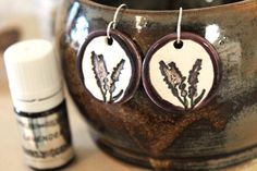 For Mom? Lavender Scented Ceramic Earrings with Lavender Essential by surly, $34.95