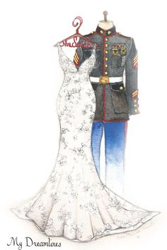 Military uniform and wedding dress sketch given as Christmas gift, wedding gifts or anniversary gifts. www.MyDreamlines.com
