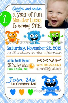 Monster Birthday Invitation - Birthday Bash - BOY - Printable ...