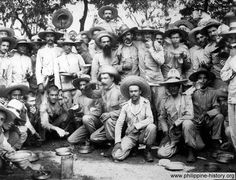 Picture of Spanish soldiers held as prisoners in Manila by Americans.An 1898 photo of Spanish soldiers eating lunch while held prisoners by the Americans in Manila. See Spanish-American War.