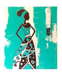 C'est une toile moderne qui représente une femme africaine aux couleurs éclatantes sur une toile de dimension 55x46 cm. C'est un tableau moderne et comtemporain. Les couleurs utilisées turquoise/vert, noir, argent. C'est une peinture acrylique, vernis et signée. Modèle unique. Reproduction interdite.