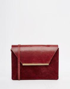 ASOS+Vintage+Leather+Cross+Body+Bag+With+Metal+Bar
