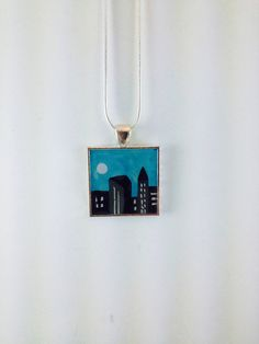 City Pendant City Skyline Art Pendant Unique by DancinFoolArts