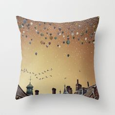 Innumerable wandering balloons Throw Pillow by Emma Fitzgerald - $20.00