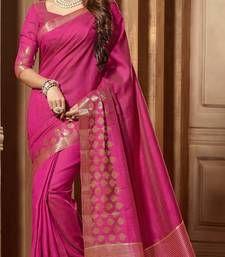 Buy Pink woven cotton_silk saree with blouse banarasi-silk-saree online