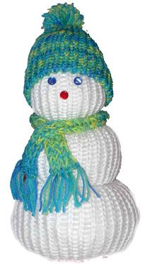 Snowman made using the Knifty Knitter Loom