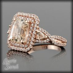 Morganite colored Asscher Cut and Trillion by LaurieSarahDesigns, $6,255.60