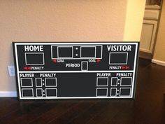 This is a recreation of hockey score board ... It is 3 feet by 5 feet comes with wall hanging brackets installed on the back... I paint the 1/2 sandyply with Chalkboard paint and vinyl graphic the rest...  If you have any questions or personal touches you want to add to the board please let me know and i can send you a proof...