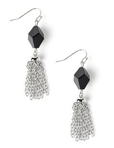 Our dangling earrings captivate with their metallic, chain-link tassel design. A beveled accent bead hangs from the French wires to adds some classic color to this beautiful accessory. Customized in size and scale for the plus size woman. For your comfort, all Catherines jewelry is free of lead and nickel. catherines.com