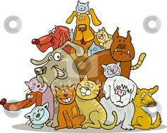 cutcaster-vector-100926458-Cats-and-Dogs-group.jpg (450×360)