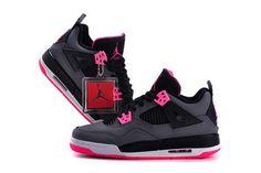 Air Jordan 4 Grey Black Rose Red Women