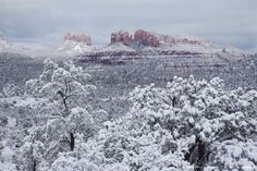 A february snow storm in Sedona and the surrounding area contrasts with the red rocks to emphasize the beauty of the area.