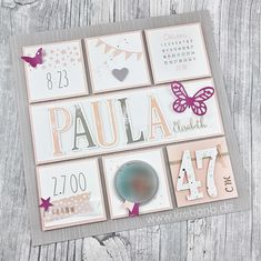 Birth picture frames or only the LayOut – the frame is still missing 😉 Joint project with a dear friend (who previo Baby Scrapbook, Travel Scrapbook, Scrapbook Cards, Creative Memories, Birth Pictures, Photo Frame Design, Baby Frame, Birth Gift, Baby Album