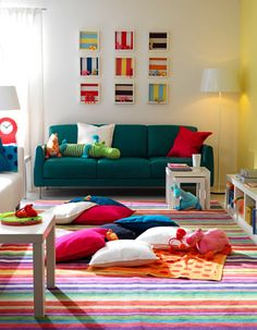 colorful rug (says it's from Ikea) House Colors, House Design, Living Dining Room, Kids Tv Room, Colorful Kids Room, Home Deco, Colorful Interiors, Colourful Living Room, Room