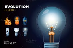 Evolution of light. Icon set Graphics Series of the detailed pictures showing all stages evolution of light. You can modify this pictures by Multigon Fire Candle, Light Bulb Art, Light Icon, Paint Markers, Pencil Illustration, Business Card Logo, Cartoon Styles, Picture Show, Icon Set