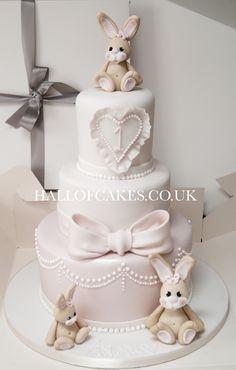 Beautiful baby bunny cake by Hall of Cakes - cake - baby kuchen - first birthday cake-Erster Geburtstagskuchen Baby Girl Cakes, Baby Birthday Cakes, Birthday Ideas, Luxury Wedding Cake, Wedding Cakes, Christening Cake Girls, Cake Name, Rabbit Cake, Baby Shower Cakes