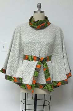 Cape Jacket. Cowl Neck. African Print. Knit by NanayahStudio
