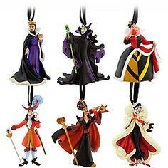 Because Sav is crazy about villains... we will get.  Classic Disney Villains Ornament Set -- 6-Pc.