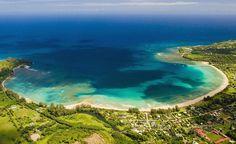 Kauai my favorite Hawaiian island.  Hanalei Bay is a peaceful small town with a wonderful beach.