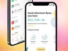 Earmark iOS Design by Ryan Johnson for Earmark on Dribbble Ryan Johnson, Ios Design, Mobile App, Apple Watch, Budgeting, Product Launch, Health, Salud, Health Care