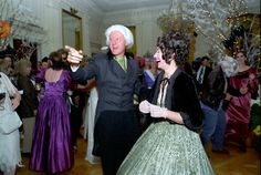 Here's Bill and Hillary Rodham Clinton in 1993, dressed up as James and Dolly Madison. Awesome.