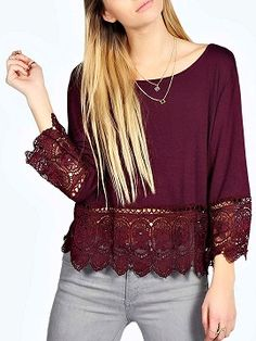 Shop Blusa Manga Larga Dobladillo De Encaje Vino Tinto from choies.com .Free shipping Worldwide.$12.9                                                                                                                                                      Más