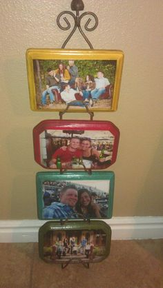 0.60 cent wood blocks painted and pictures modge podged on.  0.50 cent plate holder at thrift store.  Total cost 2.90!!!
