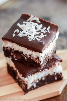 Chocolate Coconut Brownies - Fudgy brownies topped with creamy coconut and finished with chocolate ganache.