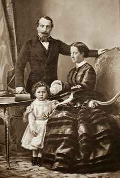 Emperor Napoléon III with his wife Eugénie and their only child, ca 1858 by Disderi.