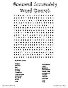 Indiana General Assembly word search. From SenateDemocrats.I... . More