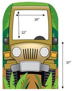 Jeeps in Jungle Cartoon | Jungle Jeep Photo Cardboard Stand-In