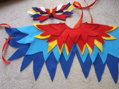 Red Parrot Bird Wings with matching Mask  by LockNessieCreations