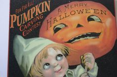 Vintage Style Halloween Pumpkin Carving Contest Metal Sign Town Hall Glitter  #Signs