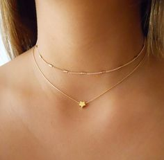 Necklaces Layered Set Of 2 Gold Necklaces, Gold Necklace Set, Star Necklace, Gold Choker, Dainty Gold Layered Necklace - Star Necklace, Necklace Set, Beaded Necklace, Layered Necklace, Collar Necklace, Simple Necklace, Delicate Gold Necklace, Necklace Extender, Nameplate Necklace