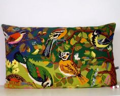 Large Tapestry Needlepoint Silk French Song Birds by Retrocollects