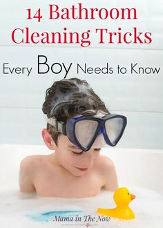 Boy moms, are you tired of stinky bathrooms?! I know I am! Use these bathroom cleaning tricks and tips for boys. Teach your boys how to keep their bathroom clean - their future wives will thank you! Boy mom cleaning hacks. Parenting tips for moms of boys! #BoyMom #MomofBoys #RaisingBoys #CleaningBathrooms #BathroomCleaningTips #CleaningTips #mamainthenow