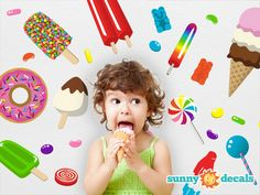 wall decals-- i love candy inspired decals--Doing a cupcake candy themed bath area